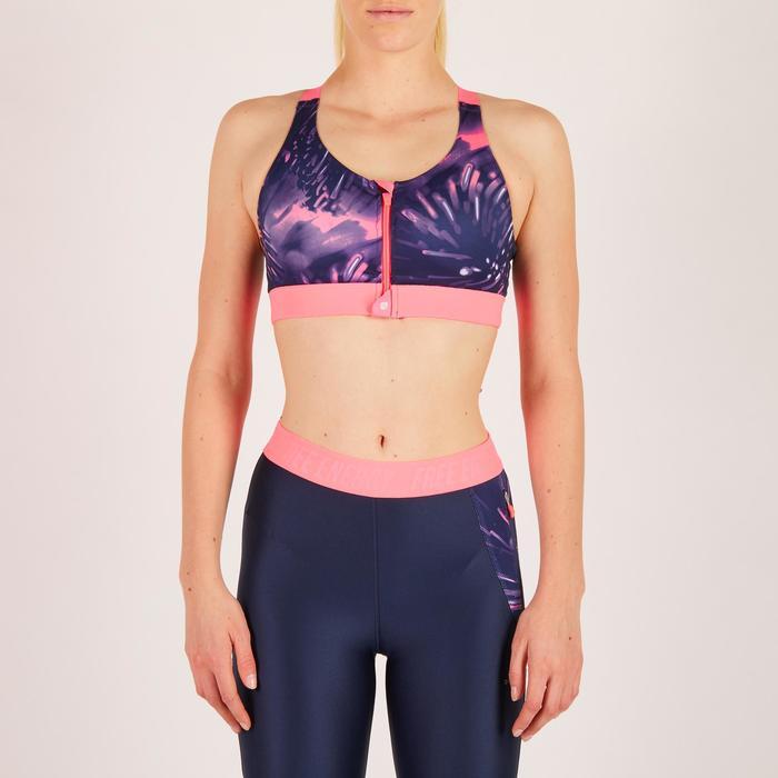 Brassière zip fitness cardio femme imprimés tropicaux roses 900 Domyos - 1271988