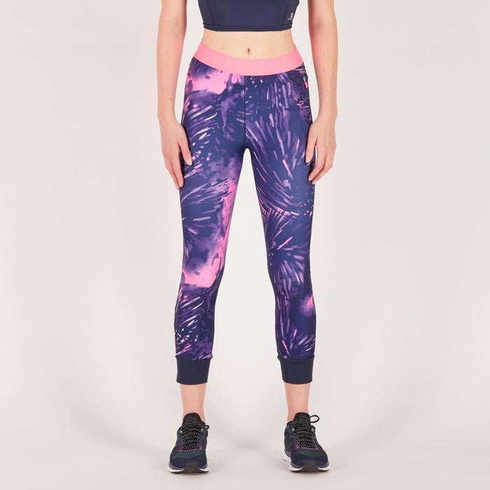 Legging 7/8 fitness cardio femme bleu marine détails tropicaux 500 Domyos - 1272006