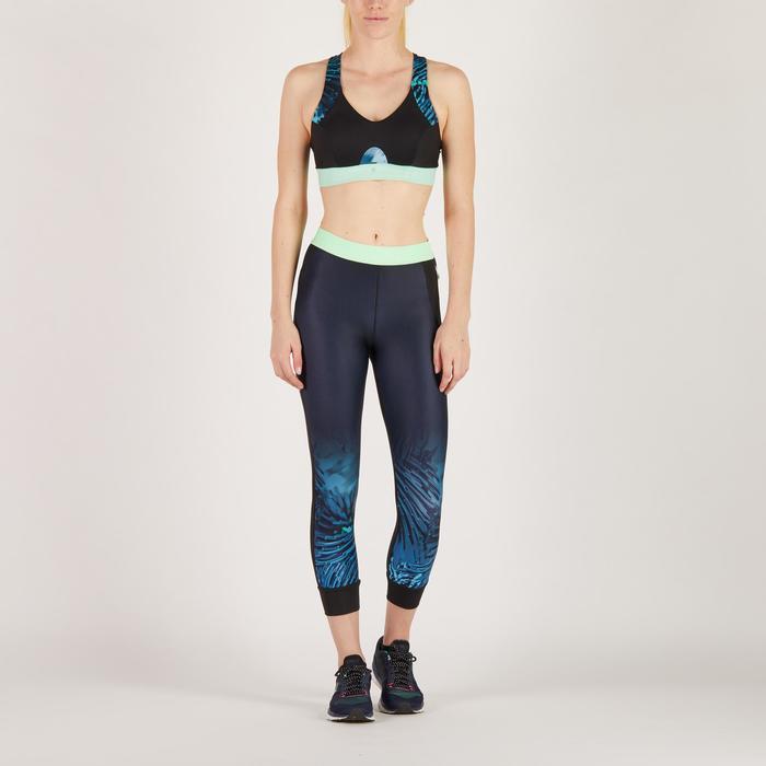Legging 7/8 fitness cardio femme bleu marine détails tropicaux 500 Domyos - 1272007