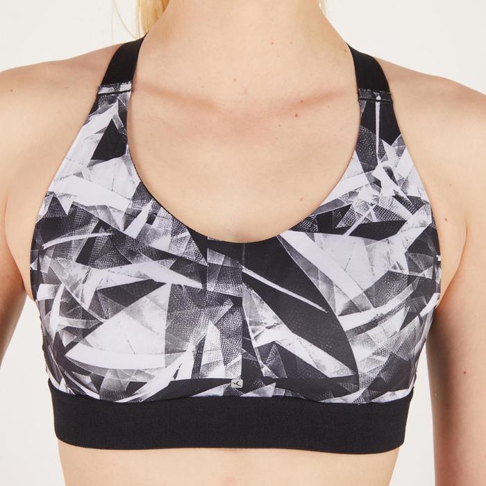 Sportbeha cardiotraining dames geometrische print zwart 500 Domyos