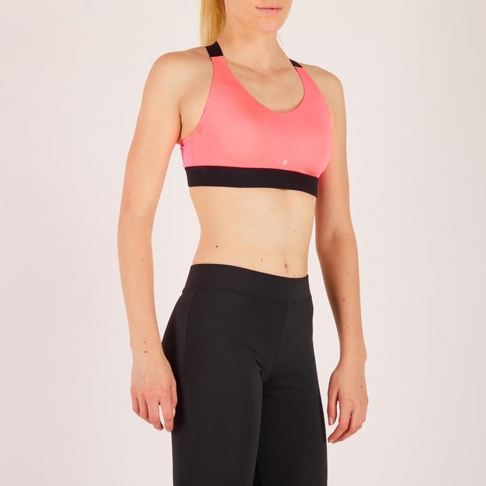 Brassière fitness cardio femme imprimés géométriques noirs 500 Domyos - 1272018