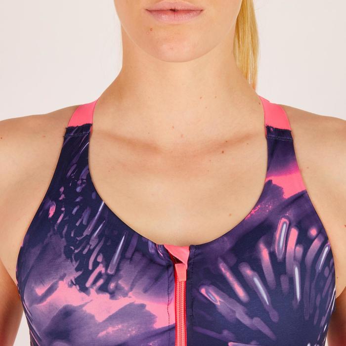 Brassière zip fitness cardio femme imprimés tropicaux roses 900 Domyos - 1272026