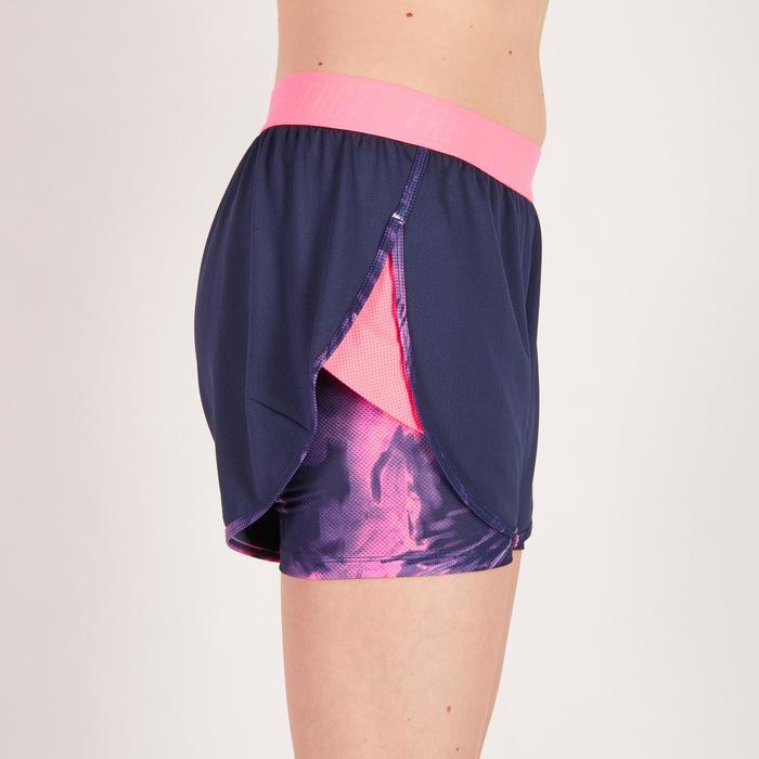 Short 2 en 1 fitness cardio femme bleu marine et imprimés roses 520 Domyos - 1272029