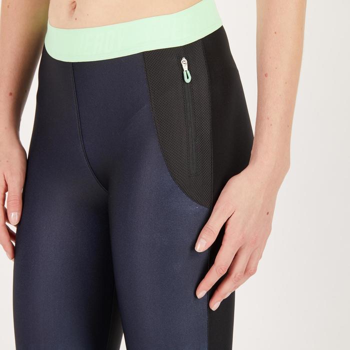 Legging 7/8 fitness cardio femme bleu marine détails tropicaux 500 Domyos - 1272030