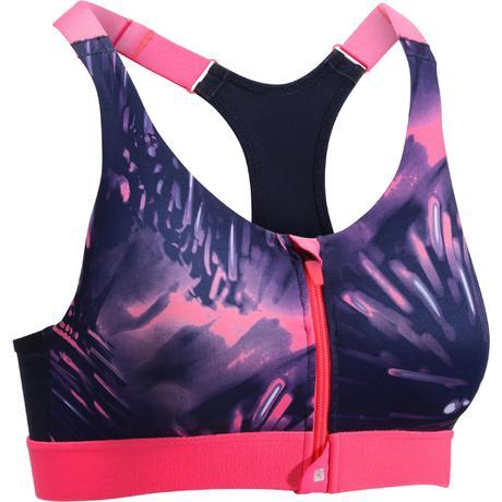 Brassière zip fitness cardio femme imprimés tropicaux roses 900 Domyos  deb3bf484e0