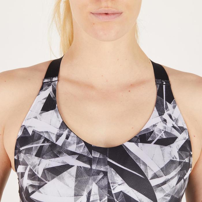 Brassière fitness cardio femme imprimés géométriques noirs 500 Domyos - 1272045