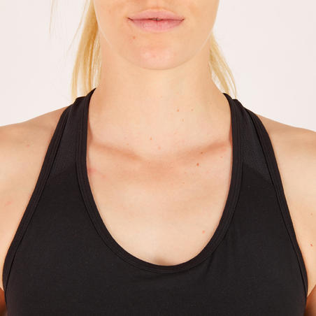 100 Women's Fitness Cardio Training Sports Bra - Black