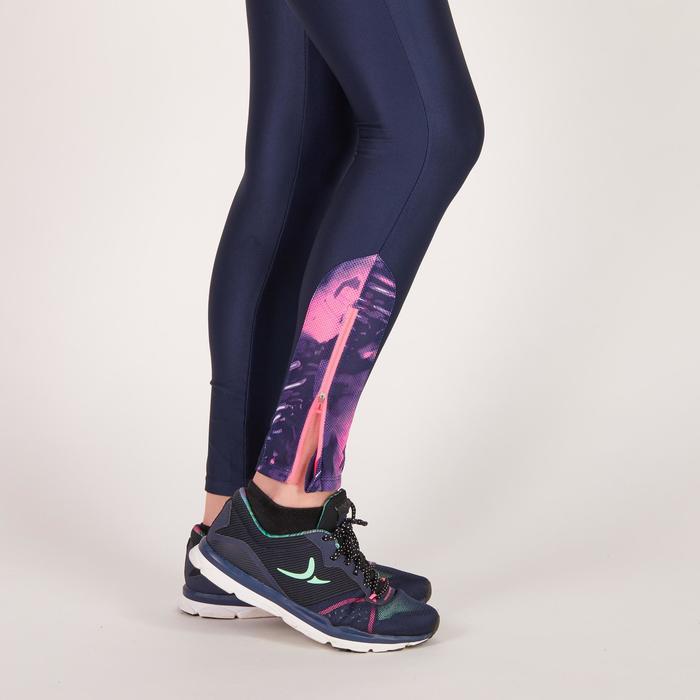 Legging fitness cardio femme bleu marine et imprimés tropicaux roses 500 Domyos - 1272051