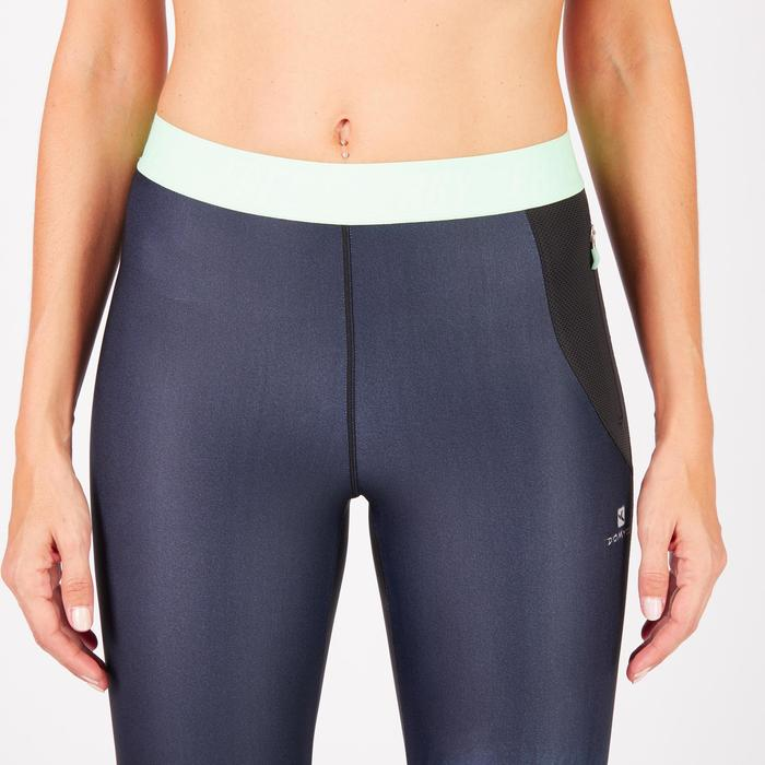 Legging fitness cardio femme bleu marine et imprimés tropicaux roses 500 Domyos - 1272058