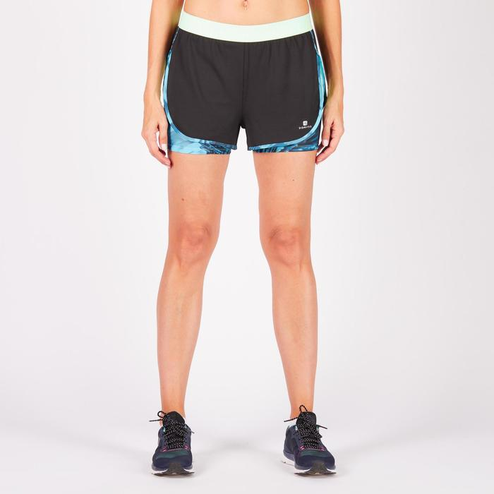 Short 2 en 1 fitness cardio femme bleu marine et imprimés roses 520 Domyos - 1272066