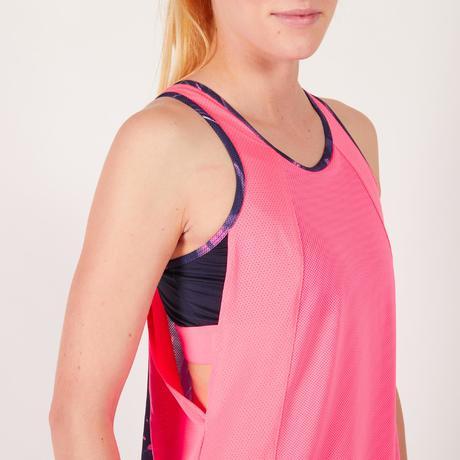 Débardeur brassière intégrée fitness cardio femme rose fluo 500 Domyos.  Previous. Next be415b41a66