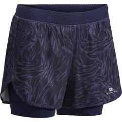 900 Women's 2-in-1 Cardio Fitness Shorts - Blue Graphic Print
