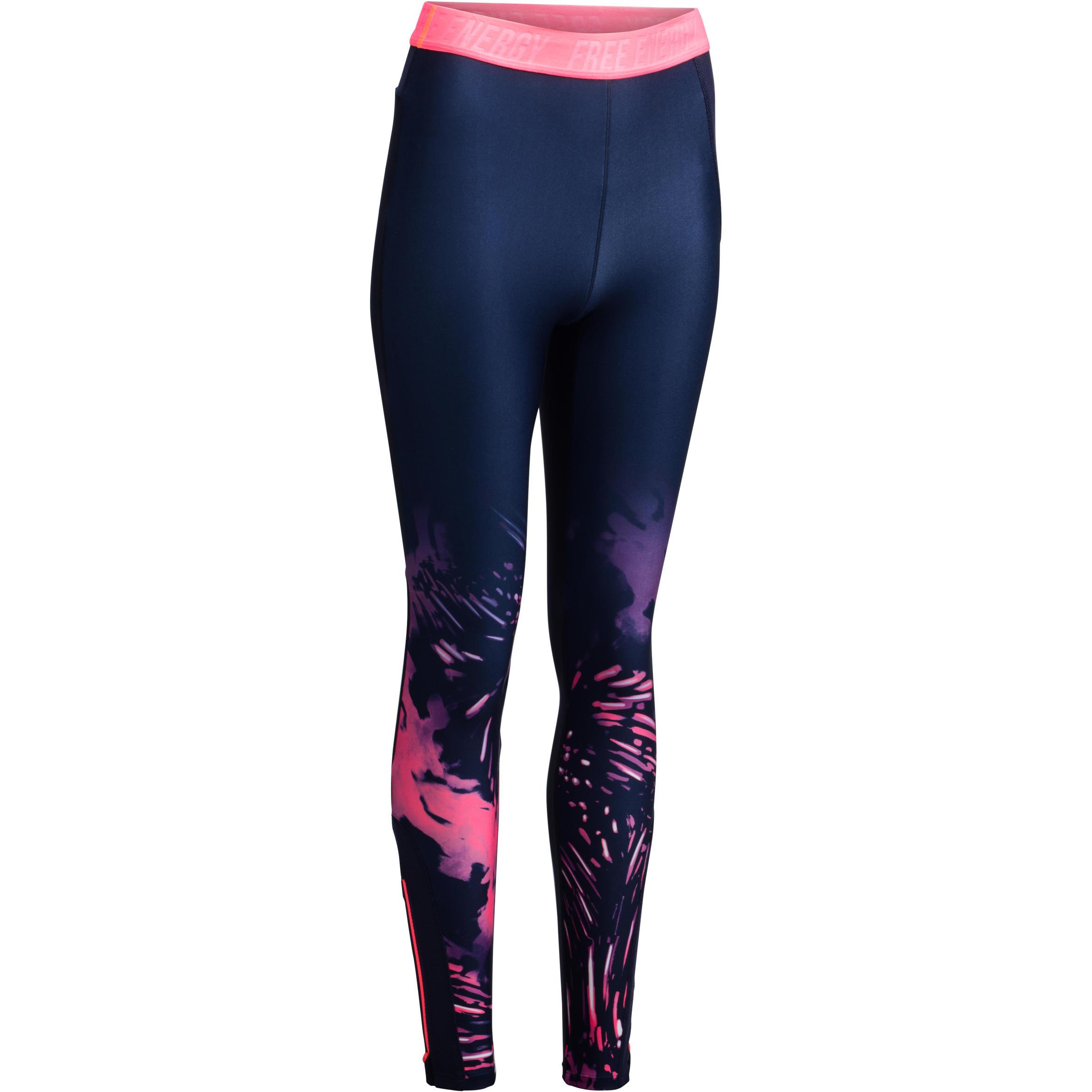 Leggings fitness cardio mujer azul marino con estampado tropical rosa 500 Domyos