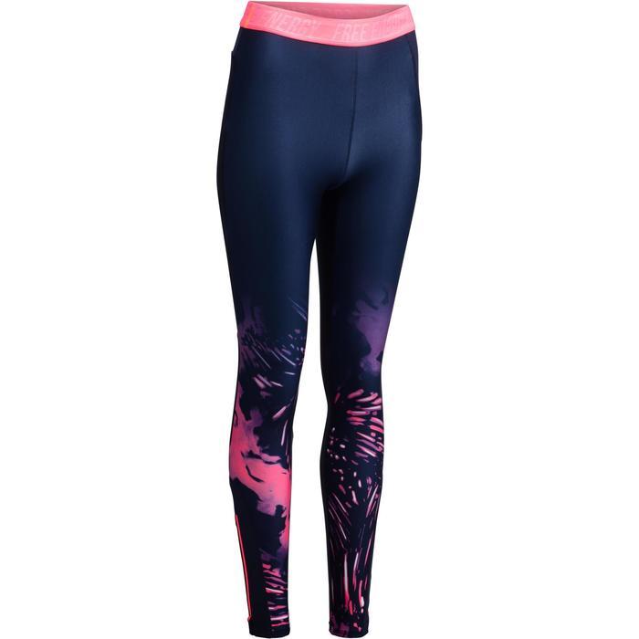 Legging fitness cardio femme bleu marine et imprimés tropicaux roses 500 Domyos - 1272079