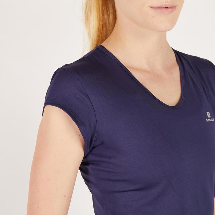 T-Shirt Cardio 100 Damen Fitness marineblau