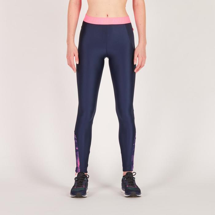 Legging fitness cardio femme bleu marine et imprimés tropicaux roses 500 Domyos