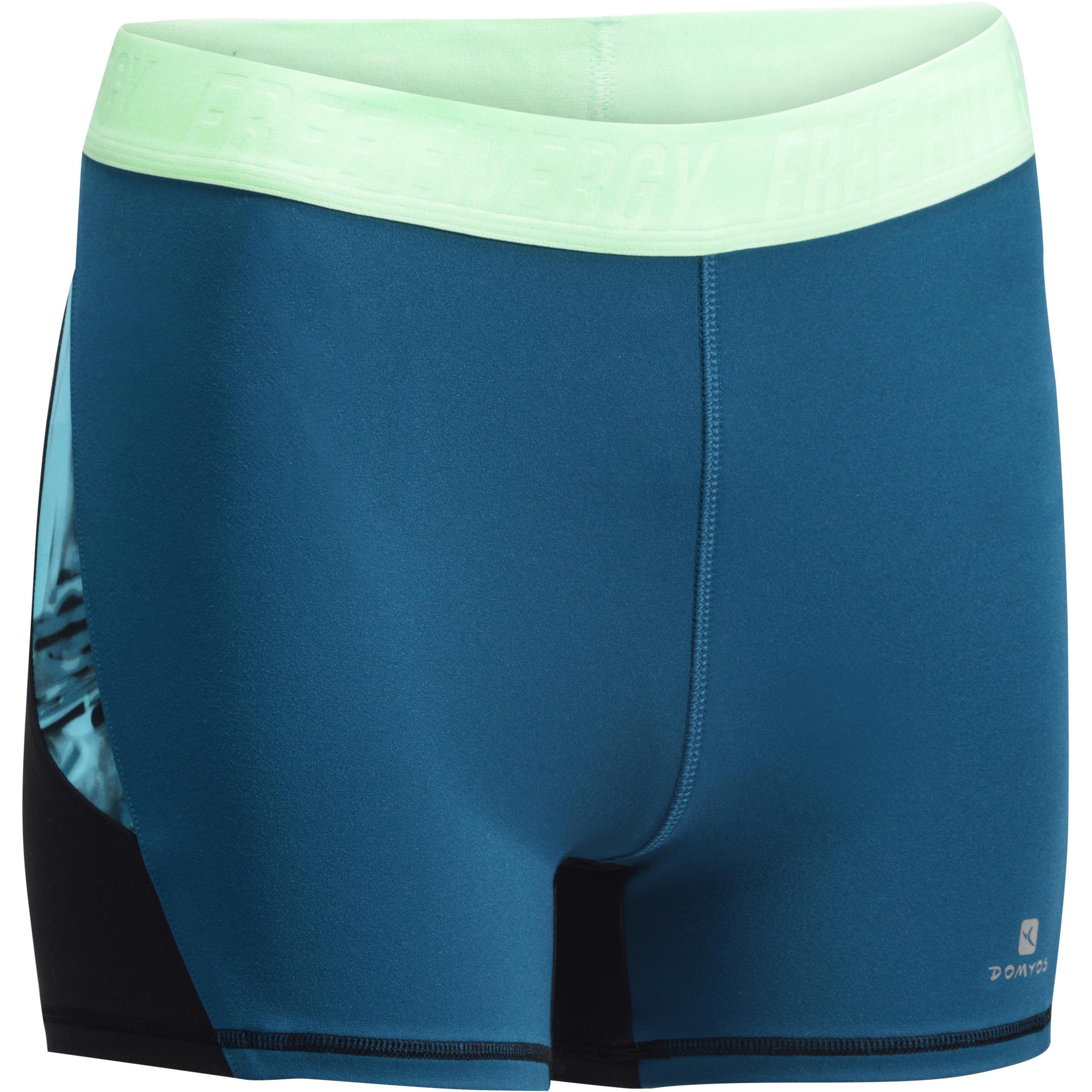 Short fitness cardio negro y azul para mujer 500 Domyos
