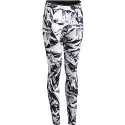 Cardiofitness legging 100 voor dames tweekleurig zwart en geometr. Domyos