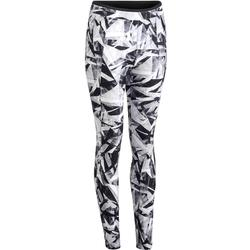 Legging fitness cardio femme bicolore noir et imprimés géométriques 100 Domyos