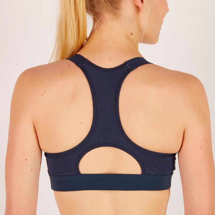 Brassière fitness cardio femme imprimés géométriques noirs 500 Domyos - 1272105