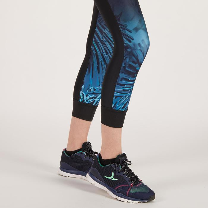 Legging 7/8 fitness cardio femme noir à imprimés tropicaux bleus 500 Domyos