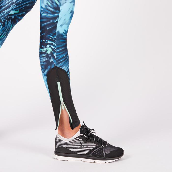 Legging fitness cardio femme bleu marine et imprimés tropicaux roses 500 Domyos - 1272123