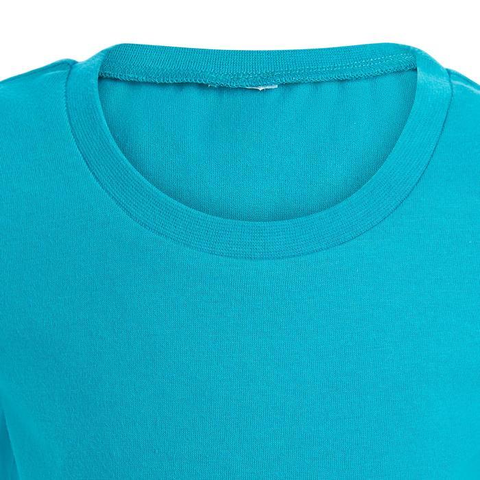 Set 2 T-shirt 500 korte mouwen peuter- en kleutergym wit/blauw met opdruk