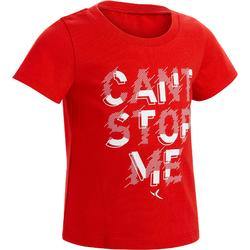 100 Baby Short-Sleeved Gym T-Shirt - Red Print