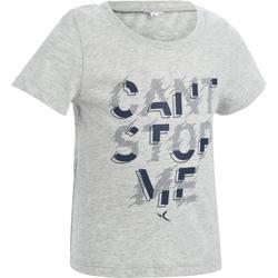 Set van 2 T-shirts 100 met korte mouwen peutergym blauw grijs opdruk