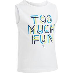 Camiseta sin mangas 100 gimnasia infantil estampado blanco