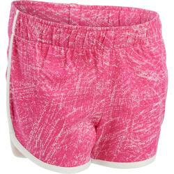Sporthose kurz 100 Babyturnen Kinder rosa/weiß mit Print