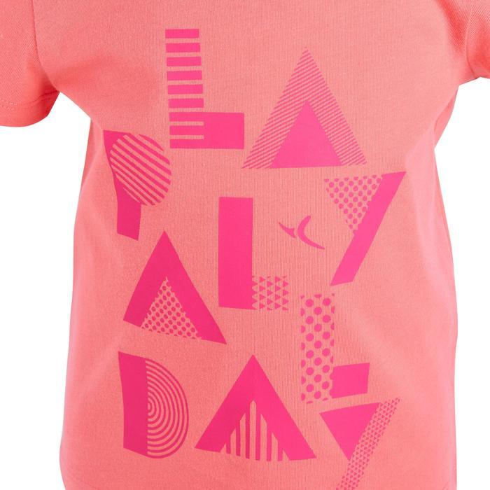 Camiseta Manga Corta Deportiva Gimnasia Domyos 100 Bebé Rosa Estampado