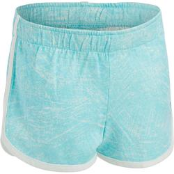 Sporthose kurz 500 Babyturnen blau/weiß mit Print