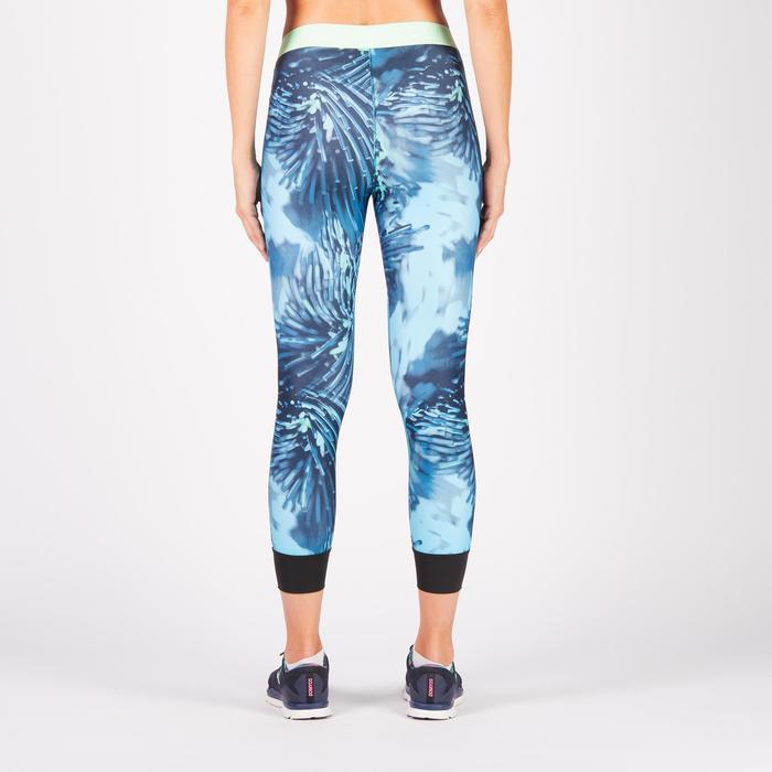 Legging 7/8 fitness cardio femme bleu marine détails tropicaux 500 Domyos - 1272547