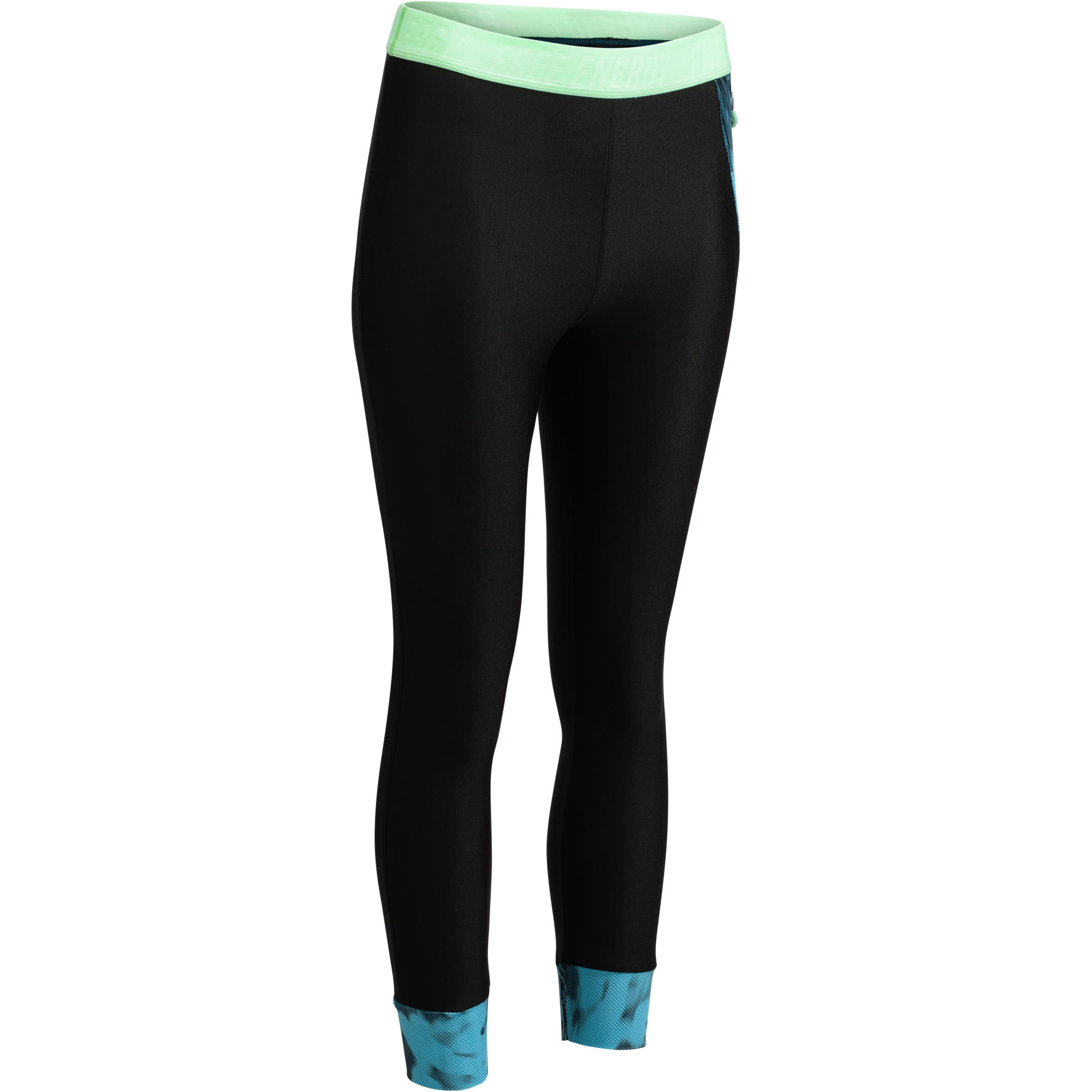 Leggings capri fitness-cardio mujer, negros con detalles tropicales, 500 Domyos