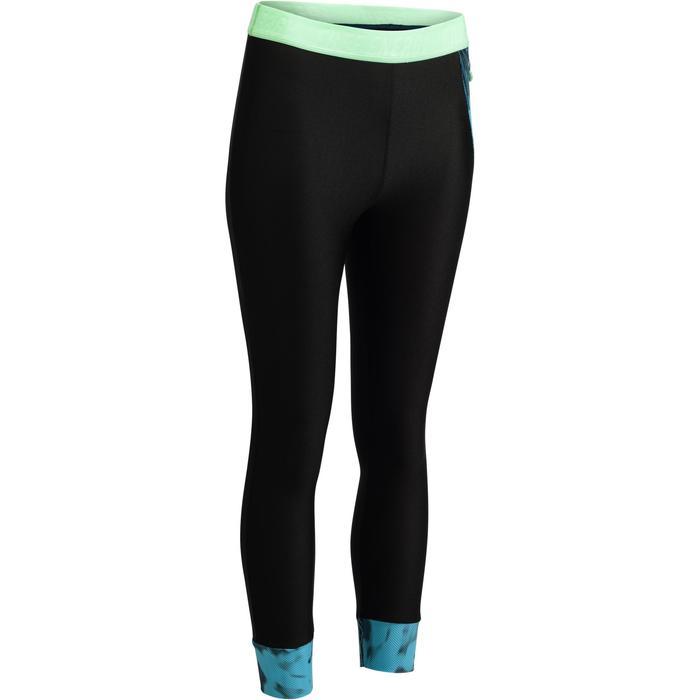 Legging 7/8 fitness cardio femme bleu marine détails tropicaux 500 Domyos - 1272549