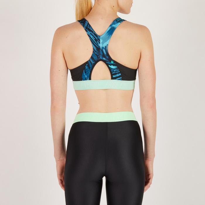 Brassière fitness cardio femme noir et imprimés tropicaux 500 Domyos