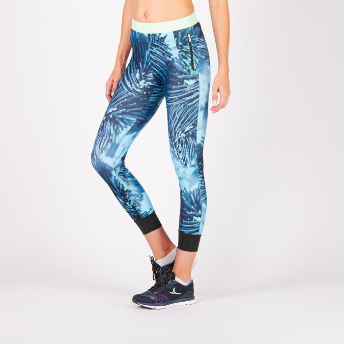 Legging 7/8 fitness cardio femme bleu marine détails tropicaux 500 Domyos - 1272556