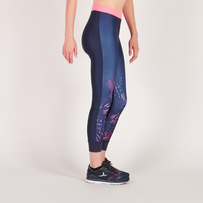 Legging 7/8 fitness cardio femme bleu marine détails tropicaux 500 Domyos - 1272561