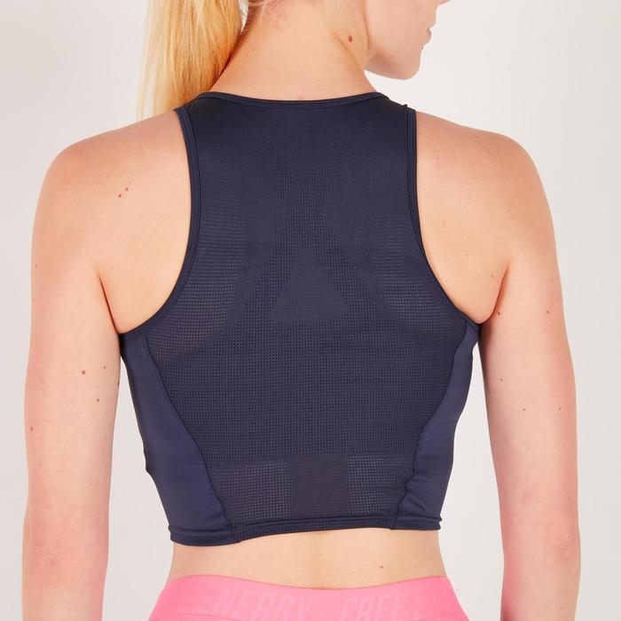 Cropped top fitness cardio femme bleu marine 500 Domyos - 1272573