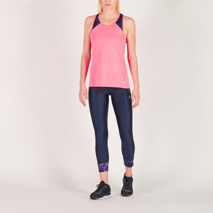 Legging 7/8 fitness cardio femme bleu marine détails tropicaux 500 Domyos - 1272579