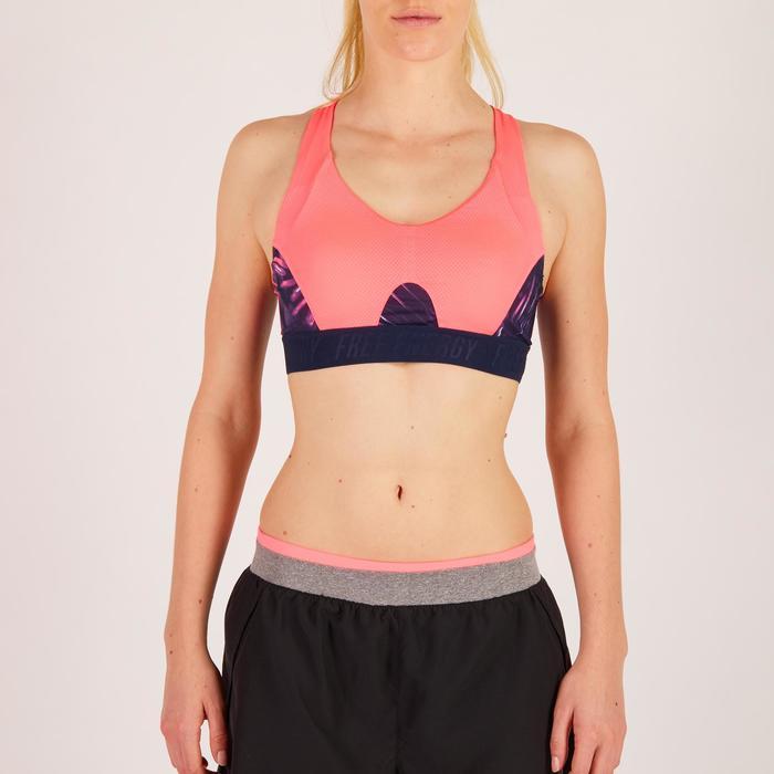 Brassière fitness cardio femme à imprimés tropicaux roses 500 Domyos - 1272580