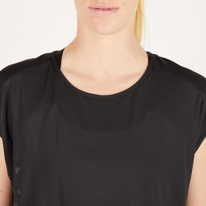 Camiseta amplia fitness cardio mujer negro con estampados 120 Domyos