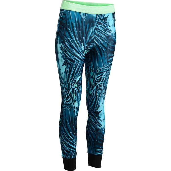 Legging 7/8 fitness cardio femme bleu marine détails tropicaux 500 Domyos - 1272587