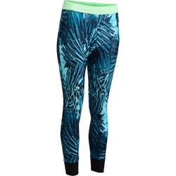 500 Women's Cardio Fitness 7/8 Leggings - Navy Blue with Tropical Details