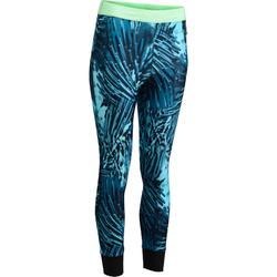 Sportlegging (7/8) 500 voor fitness cardio met tropische donkerblauwe details