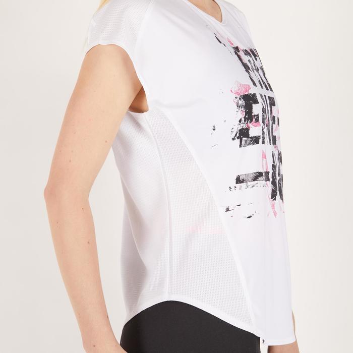 Camiseta amplia fitness cardio mujer blanco con estampados 120 Domyos