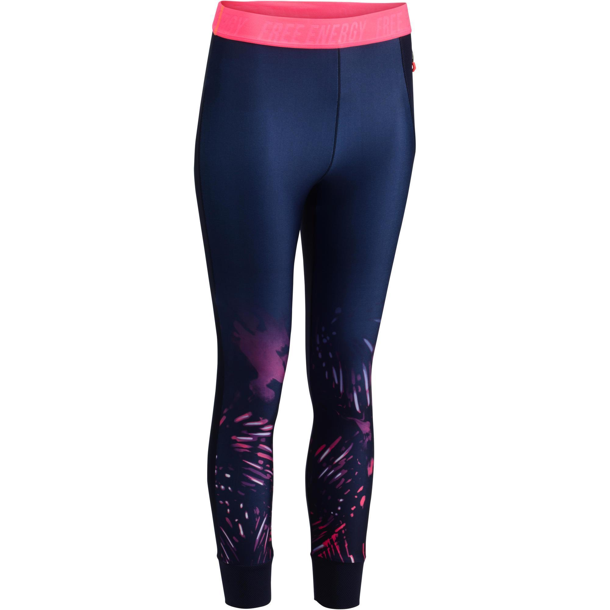 500 women 39 s cardio fitness 7 8 leggings blue with pink tropical print domyos by decathlon. Black Bedroom Furniture Sets. Home Design Ideas