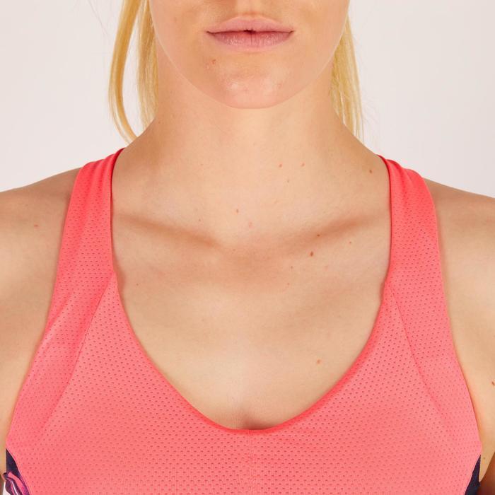 Brassière fitness cardio femme à imprimés tropicaux roses 500 Domyos - 1272591