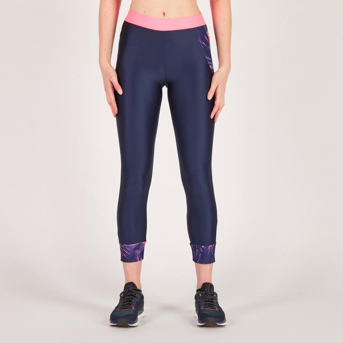 Legging 7/8 fitness cardio femme bleu marine détails tropicaux 500 Domyos - 1272592